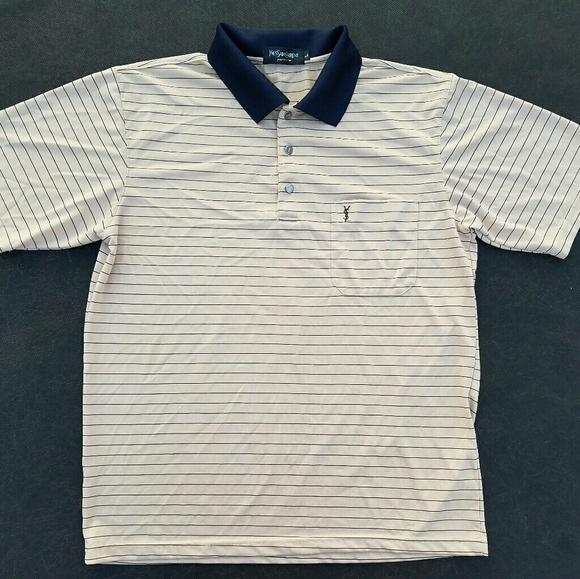 dcd9093e2 Yves Saint Laurent Mens Large Silk Polo Shirt. M_5a9c8641daa8f633ef42407c